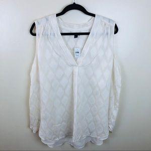 Ann Taylor White Button Down Shirt Sz XXL